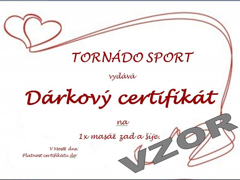 Č.1 Dárkový certifikát: Masáž zad a šíje.